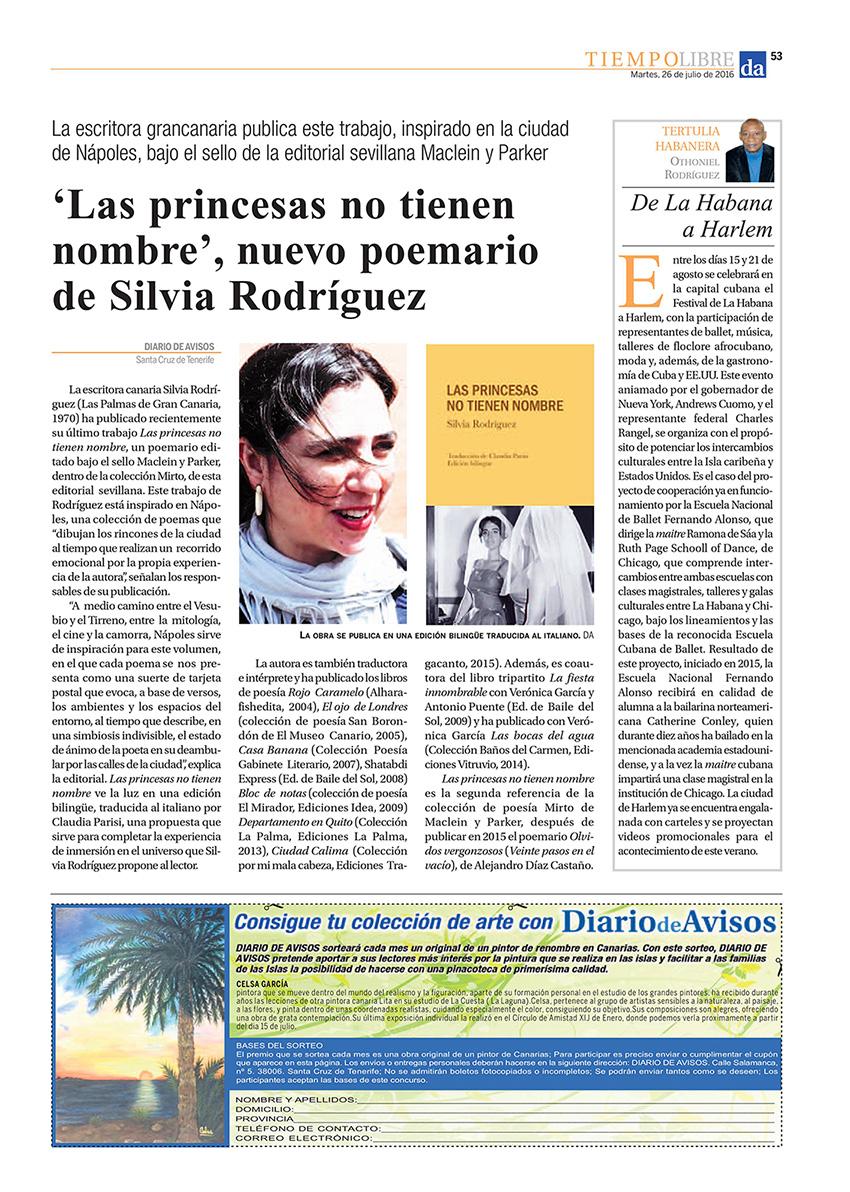 Las princesas no tienen nombre | Diario De Avisos | Maclein Y Parker | Editorial de libros independiente | Venta de libros online